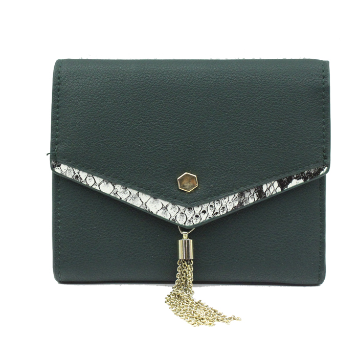 Green color PU material small size women wallet-YZ820046S