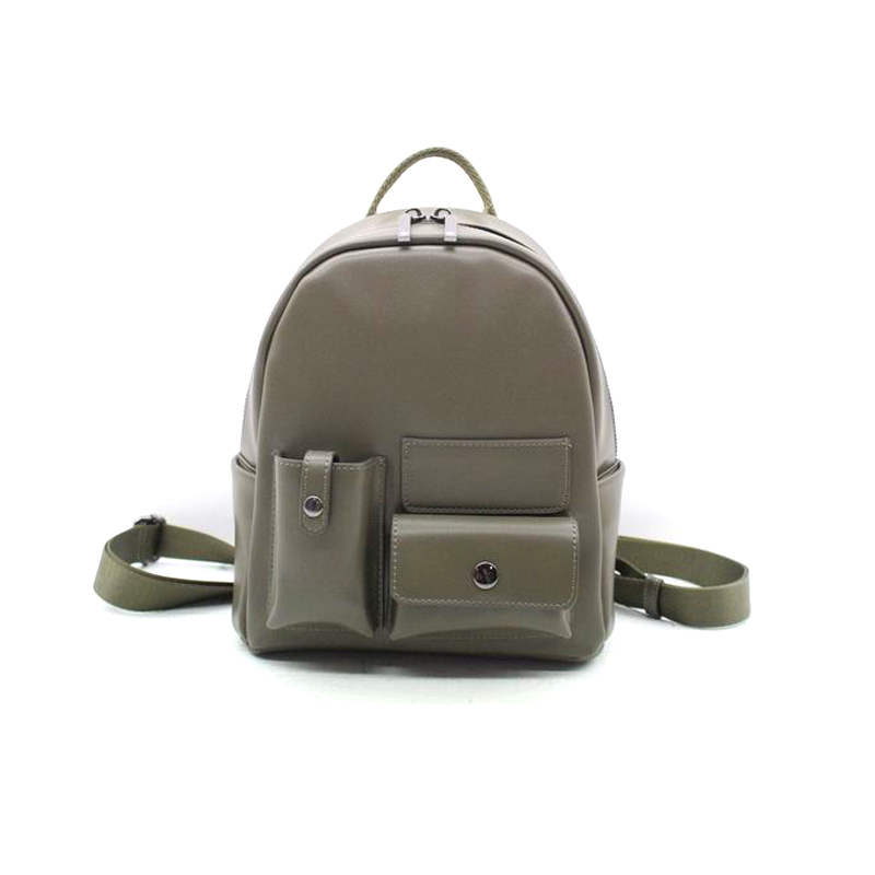 Chinese Bag Manufacturer Ladies PU Waterproof Backpack with Three Pocket on the Front-YZ830139