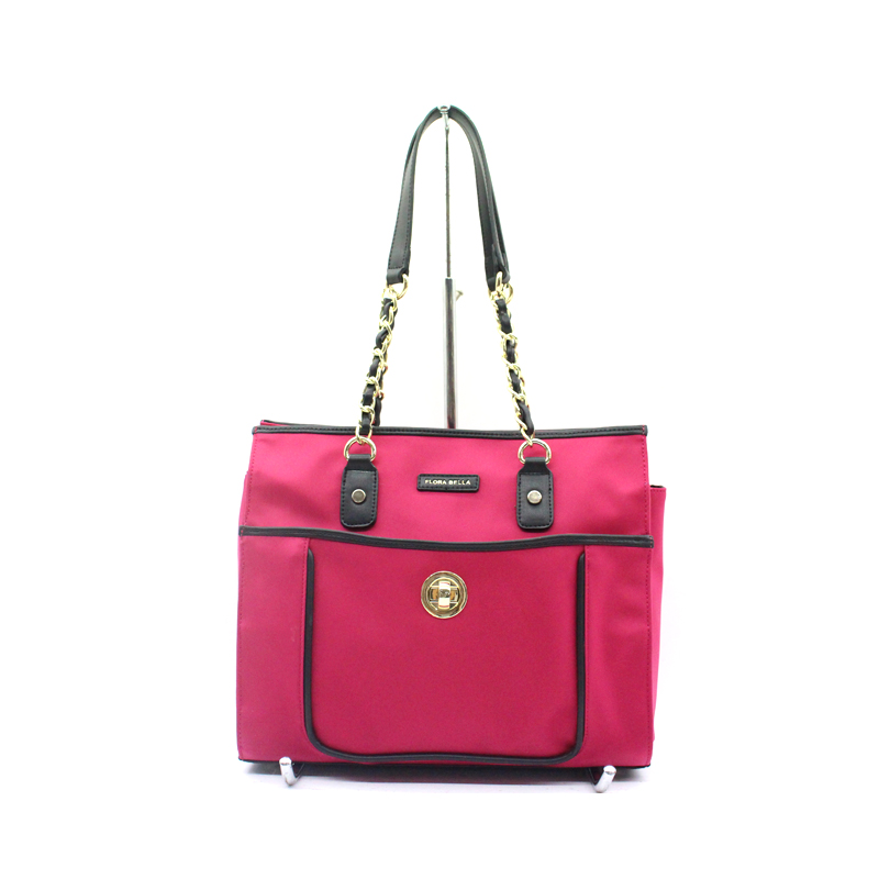 OEM Available Ladies Nylon Casual Shopper Bag with Chain and PU Shoulder Strap-YZ920320