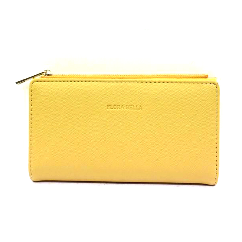 Chinese Manufacturer PU Material Yellow Long Classic Purse with Zipper Closure-YZ920469F