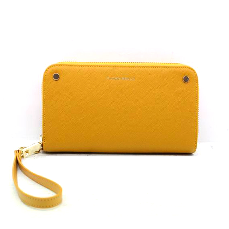 Factory Hot Sales Classic Yellow Long Wallet with Mental Zipper Closure-YZ920641