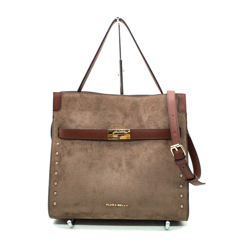 High Quality Suede Material Fashion Tote Sling Bag with Strap and Revit as Decoration-YZ990001